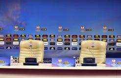 Άδειες θέσεις πριν από την Τύπος-διάσκεψη στοκ φωτογραφία με δικαίωμα ελεύθερης χρήσης