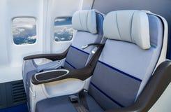 Άδειες θέσεις σε ένα σύγχρονο αεροπλάνο Στοκ Εικόνες