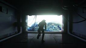 Άλματα αστροναυτών στο διάστημα άποψη της γης Μηά βαρύτητα cinematic 4k μήκος σε πόδηα διανυσματική απεικόνιση