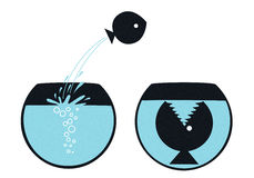 Άλματα ψαριών Fishbowl Διανυσματική απεικόνιση