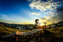Άλμα ποδηλάτων βουνών στοκ εικόνα