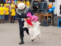 Άλμα στο σάκο Στοκ εικόνες με δικαίωμα ελεύθερης χρήσης
