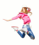 Άλμα χορευτών χιπ χοπ υψηλό στον αέρα Στοκ Φωτογραφίες