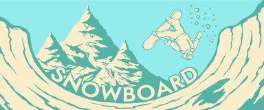 άλμα Halfpipe βουνών snowboarder Στοκ Εικόνες
