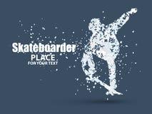 Άλμα Skateboarder skateboard, διάφορη σύνθεση μορίων, διάνυσμα Στοκ Εικόνες