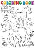 Άλογο βιβλίων χρωματισμού με foal το θέμα 1 διανυσματική απεικόνιση