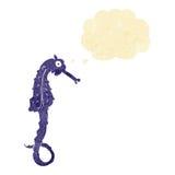 άλογο θάλασσας κινούμενων σχεδίων με τη σκεπτόμενη φυσαλίδα Στοκ φωτογραφία με δικαίωμα ελεύθερης χρήσης