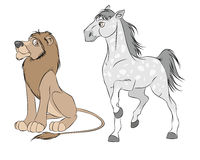 Άλογο και λιοντάρι Στοκ Φωτογραφίες
