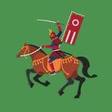 Άλογο οδήγησης πολεμιστών Σαμουράι με το ξίφος, διανυσματική απεικόνιση Στοκ Εικόνες
