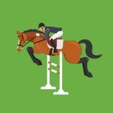 Άλογο που πηδά πέρα από το φράκτη, ιππικός αθλητισμός διανυσματική απεικόνιση