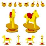 Άλογο ταλάντευσης παιδιών ` s σε ένα ελατήριο, στις διαφορετικές προβολές από τις διαφορετικές γωνίες, isometric, επίπεδες η ανασ διανυσματική απεικόνιση