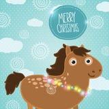 Άλογο Χριστουγέννων. Απεικόνιση διακοπών Στοκ Εικόνα