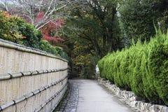 Άλσος μπαμπού διάβασης πεζών σε Arashiyama στο Κιότο, Ιαπωνία Στοκ Φωτογραφίες