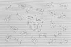 Έγγραφα επιχειρηματικών σχεδίων που περιβάλλονται με την τιμολόγηση των ετικεττών των προϊόντων W στοκ εικόνες
