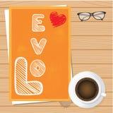 Έγγραφο αγάπης ημέρας βαλεντίνου με το φλυτζάνι καφέ και το υπόβαθρο σφενδάμνου Στοκ Εικόνα