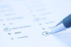 Έγγραφο γλωσσικής εξέτασης Στοκ φωτογραφία με δικαίωμα ελεύθερης χρήσης