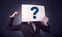 Έγγραφο εκμετάλλευσης επιχειρηματιών με τα ερωτηματικά Στοκ Εικόνα