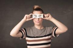 Έγγραφο εκμετάλλευσης νεαρών ατόμων με το σχέδιο ματιών Στοκ εικόνα με δικαίωμα ελεύθερης χρήσης
