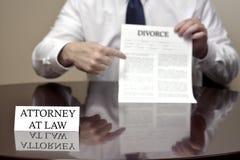 Έγγραφο διαζυγίου εκμετάλλευσης πληρεξούσιων στο νόμο Στοκ Εικόνα