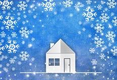 Έγγραφο μορφής σπιτιών που κόβεται με snowflake Στοκ εικόνες με δικαίωμα ελεύθερης χρήσης