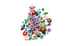 Έγγραφο λουλουδιών Quilling για το άσπρο υπόβαθρο Στοκ εικόνες με δικαίωμα ελεύθερης χρήσης
