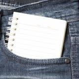 Έγγραφο σημειωματάριων στην τσέπη Jean Στοκ Φωτογραφία