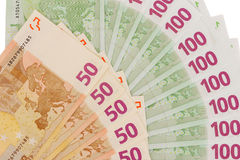Έγγραφο στον ευρο- ανεμιστήρα νομισμάτων στο άσπρο υπόβαθρο Στοκ Εικόνες