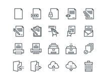 έγγραφο Σύνολο διανυσματικών εικονιδίων περιλήψεων Περιλαμβάνει όπως ο εκτυπωτής, ο καταστροφέας εγγράφων, ο φάκελλος, το αρχείο, απεικόνιση αποθεμάτων