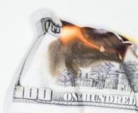 Έγκαυμα 100 Δολ ΗΠΑ Στοκ εικόνες με δικαίωμα ελεύθερης χρήσης