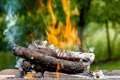 Έγκαυμα κούτσουρων με μια φωτεινή φλόγα Στοκ Εικόνες