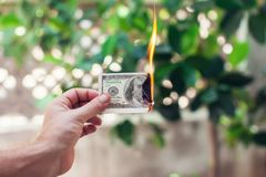 Έγκαυμα πυρκαγιάς εκατό δολάρια υπό εξέταση στοκ φωτογραφία με δικαίωμα ελεύθερης χρήσης