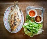 Έγκαυμα ψαριών σχαρών με τη σάλτσα και τα φρέσκα λαχανικά στοκ εικόνες με δικαίωμα ελεύθερης χρήσης