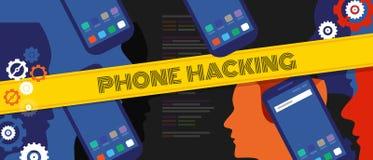 Έγκλημα στοιχείων ιδιωτικότητας κώδικα ασφάλειας τηλεφωνικής χάραξης cyber έξυπνο τηλέφωνο κινητή τεχνολογία ψηφιακή Στοκ Φωτογραφίες