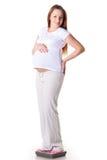 έγκυες νεολαίες γυναικών κλιμάκων Στοκ Εικόνες