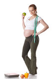 έγκυες νεολαίες γυναικών κλιμάκων Στοκ Εικόνα