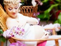 έγκυος γυναίκα κήπων Στοκ Εικόνες
