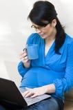 Έγκυος γυναίκα και lap-top στοκ εικόνα