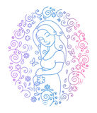 Έγκυος γυναίκα μέσα στο στρογγυλό πλαίσιο Στοκ Φωτογραφία