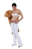 Γυναίκα με μια teddy αρκούδα στοκ φωτογραφία