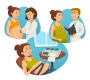 Έγκυος γυναίκα με το γιατρό, προγενέθλιος έλεγχος της εγκυμοσύνης, διανυσματικές απεικονίσεις κινούμενων σχεδίων Στοκ φωτογραφία με δικαίωμα ελεύθερης χρήσης