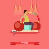 Έγκυος γυναίκα που κάνει τις ασκήσεις με το fitball στο στούντιο ικανότητας απεικόνιση αποθεμάτων