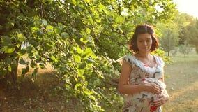 Έγκυος γυναίκα που κτυπά ήπια την tummy στο πάρκο απόθεμα βίντεο