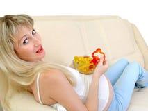 έγκυος γυναίκα προγευμάτων στοκ εικόνες