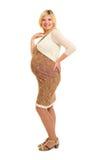 Έγκυος γυναίκα στο καφετί φόρεμα Στοκ φωτογραφίες με δικαίωμα ελεύθερης χρήσης