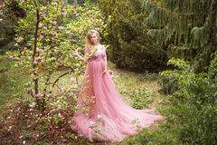 Έγκυος γυναίκα στο ρόδινο μακρύ φόρεμα που στέκεται στο magnolia άνθισης στο δάσος Στοκ Φωτογραφίες