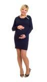 Έγκυος γυναίκα στο σκοτεινό φόρεμα Στοκ φωτογραφίες με δικαίωμα ελεύθερης χρήσης
