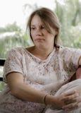 έγκυος στοχαστική γυναί στοκ εικόνα