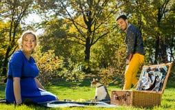 Έγκυο ευτυχές και χαμογελώντας ζεύγος στο πικ-νίκ με τη γάτα Στοκ φωτογραφία με δικαίωμα ελεύθερης χρήσης