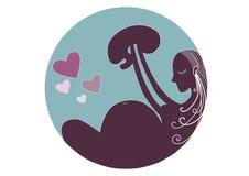 Έγκυο διανύσματα, Mom και μωρό Στοκ εικόνα με δικαίωμα ελεύθερης χρήσης