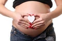 Έγκυο κορίτσι με το μικρό σύμβολο καρδιών κλείστε επάνω Άσπρη ανασκόπηση Στοκ Φωτογραφία